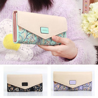 New Women Leather Wallet Floral Purse Card Mobile Bag long Zip Handbag hot = 1932938116