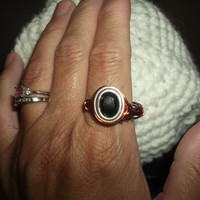 Size 8 Ladies Copper and Silver Wire Wrapped Faceted Black Onyx Ring Free Shipping