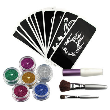 Temporary Shimmer Glitter Tattoo Kit for Body Art