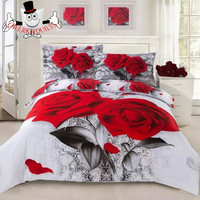 Red Rose Flower White Bedding Set and Quilt Cover