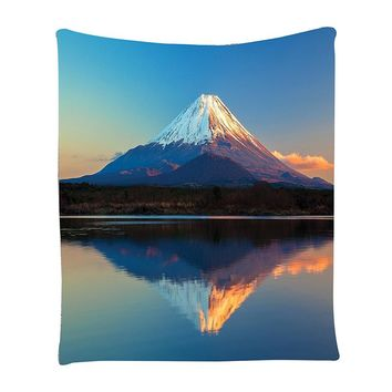 Mount Fuji and Lake Shoji Picture Clear Sky Sunset Photo Print Bedroom Living Girls Boys Room Dorm decor Wall Hanging Tapestry