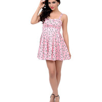 Pink & White Terrier Dog Print Fit N Flare Short Dress