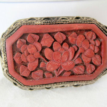 Vintage China Silver Cinnabar Carved Brooch