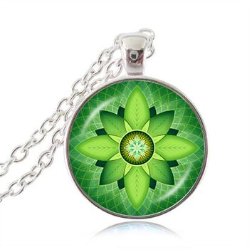 Flower of life necklace green leaf mandala pendant silver necklace yoga Buddhist meditation jewelry chakra om namaste jewelry