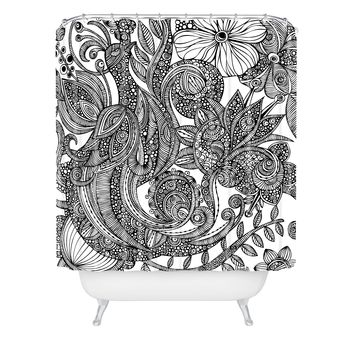 Valentina Ramos Bird In Flowers Black White Shower Curtain
