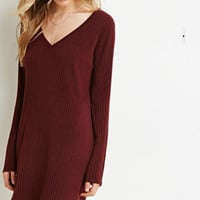 Plain V Neck Rib Knitted Sweater Dress