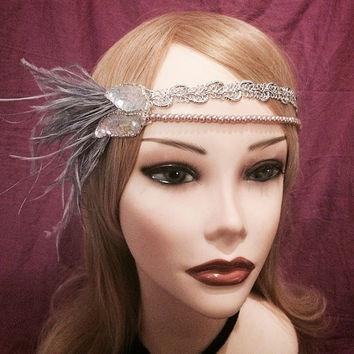 1920's inspired iridescent rose gold sequin silver flapper headband head piece headpiece hair gatsby 1920s 20s girl ostrich feather ivory
