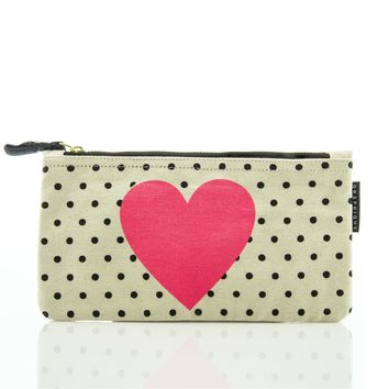Heart and Polka Dots Small Zipper Pouch