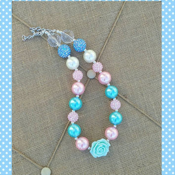 Pink Peach Teal Necklace - Aqua Necklace - Flower Necklace - Summer Wedding - Easter Outfit - Baby Girl - Photo Prop - Baptism - Coral