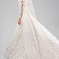 Pretty Long Sleeve Wedding Gown with Lace Overlay and Watteau Train