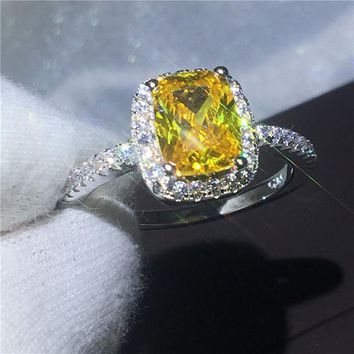 New Fashion ring cushion cut Gold 5A Zircon Crystal 925 Sterling silver Engagement wedding band rings for women Festival Gift