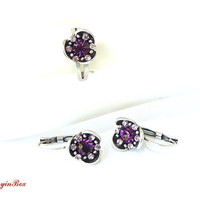 Violet Ring, Earrings with  Violet Swarovski Crystals