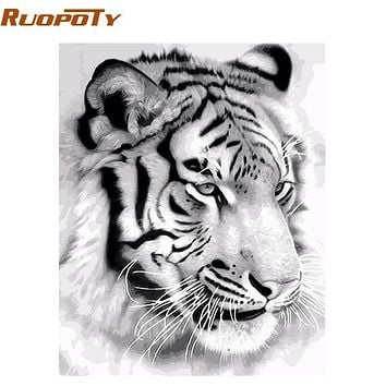 RUOPOTY Frame Tiger Animals DIY Painting By Numbers Wall Art Picture Acrylic Canvas