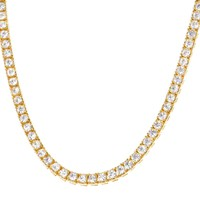 "14k Gold Finish 5mm 18"" One Row Tennis Choker Necklace"