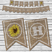 Burlap Thanksgiving Sunflower Banner – Printable Home Decor –  Autumn Sunflower Decoration – Stamped Style Burlap Banner - INSTANT DOWNLOAD