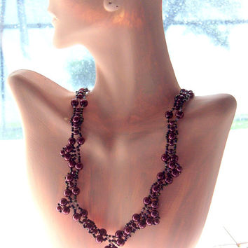 Hand Crafted One of a Kind Burgundy Pearl and Seed Bead Hand Crocheted Necklace with Magnetic Jeweled Clasp