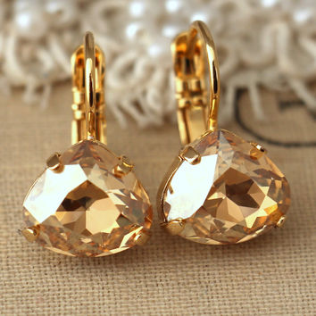 Topaz champagne gold drop earrings, Topaz light topaz crystal Swarovski earrings, Bridal droplet earrings, dangle earring, gift for woman