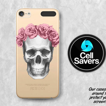 Skull Roses Clear iPod 5 Case iPod 6 Case iPod 5th Generation iPod 6th Generation Rubber Case Gen Clear Case Flower Crown Roses Pencil Cute