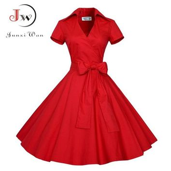 Red Black Summer Dress 2017 Audrey Hepburn Women Polka Dot Vintage Swing Robe Rockabilly Retro 50s Pinup Dresses vestidos mujer
