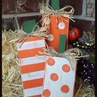 Set of 3 Wooden Pumpkins