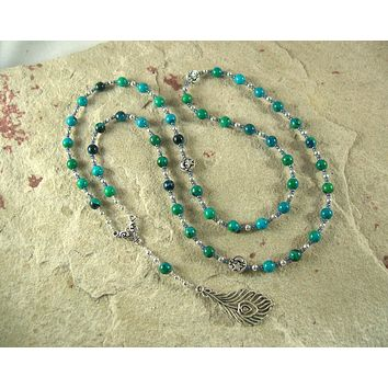 Hera Prayer Bead Necklace in Chrysocolla: Greek Goddess of the Heavens, Marriage and Fidelity, Queen of Olympus