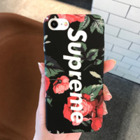 Black Flower Printed Supreme Iphone Cover Case For IPhone7 7 Plus& 6 6s Plus