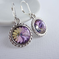 Purple Crystal Earrings Rivoli Drop Earrings by KittyBallistic