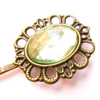 Peridot Green Cameo Rhinestone Hairpin Vintage Style Jewelled Hair Clip Jewel Bobby Pin Bridesmaid Gift, Estate Style Grip Hollywood Glamour