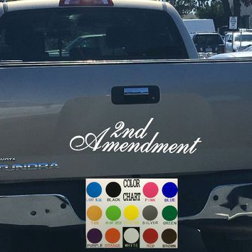 2nd Amendment Script Tailgate Decal Sticker 4x4 Diesel Truck SUV