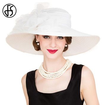 FS Elegant White Church Hats Summer Women Large Brim Organza Hat Black Beach Fashion Lady Sun Flowers Derby Hat