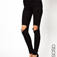 ASOS TALL Ridley High Waist Ultra Skinny Jeans With Busted Knee