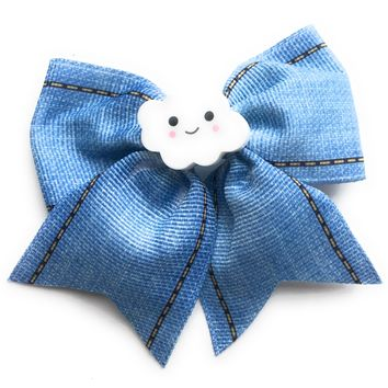 3 inch Blue Jean Hair Bow with cloud