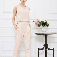 Nude V-neck Sleeveless Back Split Cropped Jumpsuit