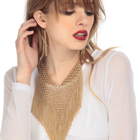 Gold Fringe Necklace Set
