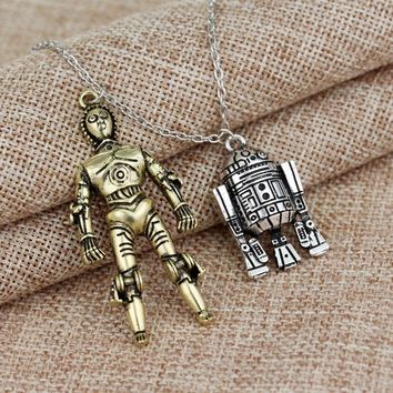 BB8 Star Wars R2-D2 Robot Pendants Alloy Necklace Cute Gift For Fans High Quality Necklaces Fashion Movie Jewelry Free Shipping