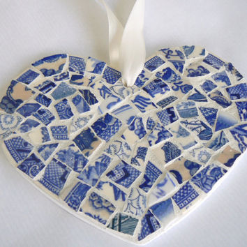 Blue and White Toile China Mosaic Heart  Pique Assiette Ornament
