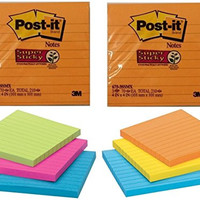 Post-it Notes, Super Sticky Pad, 4 Inches x 4 Inches, Assorted Colors, Total 420 Sheets (2 X 210 Count)