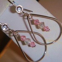CIJ Silver tear drop dangle earrings with clear and pink Swarovski Crystals