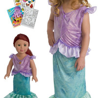 Little Adventures Mermaid Princess Dress with Doll Dress, Hair Bow & Coloring Book