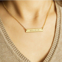 Customized Name Bar Necklace / Initial Bar / Name Plate Nameplate / Monogram Jewelry / Meaning Birthday Gift /  ID / JulenJewel / N104x
