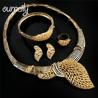 OUMEILY Dubai Gold Color African Jewelry Set Earings and Necklace Indian Bridal Jewelry Sets For Women Crystal Costume Jewellry