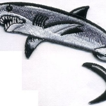 SHARK Killer Gray Shark Beautiful Details Iron or Sew On patch by Cedar Creek Patch Shop on Etsy