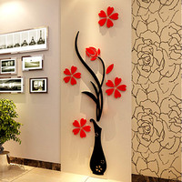 Vase 3D acrylic crystal three-dimensional wall stickers tv background wall entranceway hallway home decoration