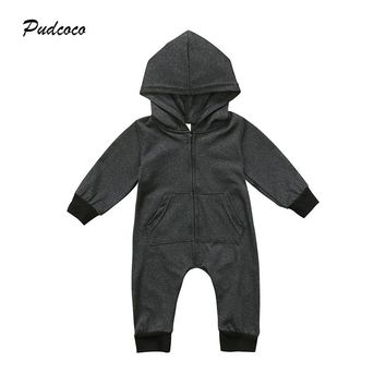 Pudcoco Newborn Baby Clothing Autumn Winter Long Sleeve Hooded Romper Jumpsuit One Pieces Zipper Warm Clothes Outfits