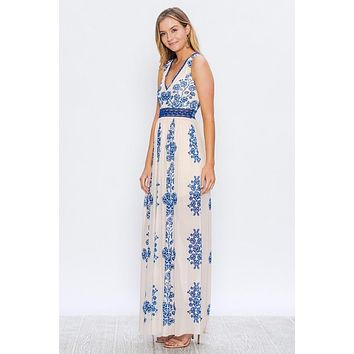 Floral Elegance Maxi Dress - Blue - Ships Tuesday, March 26th