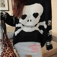 soft comfortable black white skull punk mercerized cotton sweater / coat jacket