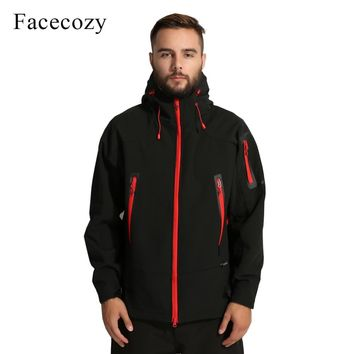 Facecozy Men's Autumn Winter Outdoor Breathable Softshell Camping Hiking Jacket Male Fleece Hooded Thermal Fishing Skiing Coat