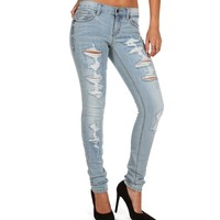 Sale-lt. Wash Distressed Jeans
