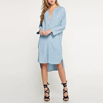 ZANZEA M-5XL Vintage Casual Women Fashion Plus Size Loose Denim Blue V Neck Long Sleeve Retro Shirt Dress Kaftan Vestido
