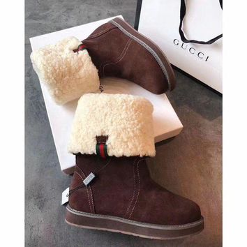 PEAPUX5 Gucci Snow Wool Boots Brown Women Gaotong Boots Thickened Flat Shoes